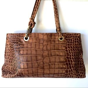 DONOLD J. PLINER CROCODILE EMBOSSED LEATHER BAG